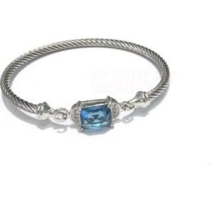 Twisted Cable Silver Plated CZ Bracelet